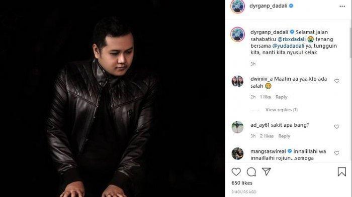Dyrga tampak mengunggah potret Rixx dengan background hitam.