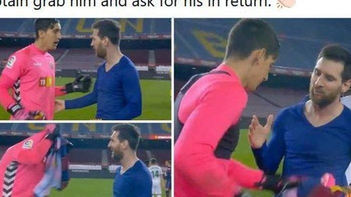VIDEO Ekspresi Kaget Kiper Elche Saat Bajunya Diminta Lionel Messi, Buru-buru Lepas Kostum