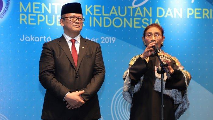 Menteri Kelautan dan Perikanan Edhy Prabowo saat sertijab dengan Susi Pudjiastuti di Kementerian KP, Jakarta, Rabu (23/10/2019)