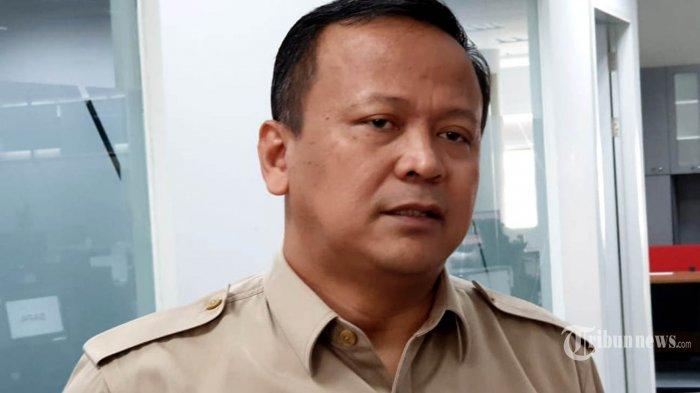 Wakil Ketua Umum Partai Gerindra Edhy Prabowo menyambangi Redaksi Kompas Grup di, Menara Kompas, Jakarta, Senin (12/8/2019). Edhy Prabowo berbincang mengenai situasi politik terkini pasca Pilpres 2019.