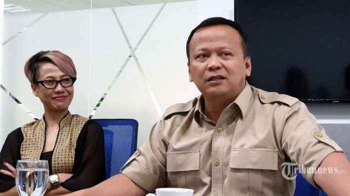 Wakil Ketua Umum Partai Gerindra, Edhy Prabowo menyambangi Redaksi Kompas Grup di Menara Kompas, Jakarta, Senin (12/8/2019).