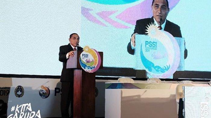 Edy Rahmayadi nyatakan mundur dari jabatan Ketua Umum PSSI saat Kongres di Bali, Minggu (20/1/2019)