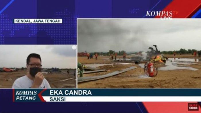 Seorang saksi mata yang juga warga sekitar Kawasan Industri Kendal (KIK), Eka Candra, menceritakan detik-detik peristiwa helikopter milik TNI AD terjatuh.