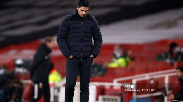 Manajer Arsenal Spanyol Mikel Arteta bereaksi selama pertandingan sepak bola Liga Utama Inggris antara Arsenal dan Wolverhampton Wanderers di Stadion Emirates di London pada 29 November 2020. JULIAN FINNEY / POOL / AFP