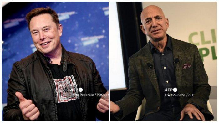 Kiri: Pemilik SpaceX dan CEO Tesla Elon Musk berpose saat dia tiba di karpet merah untuk upacara Penghargaan Axel Springer, di Berlin, pada 1 Desember 2020. Kanan: Pendiri dan CEO Amazon Jeff Bezos berbicara kepada media tentang upaya keberlanjutan perusahaan pada 19 September 2019 di Washington, DC.