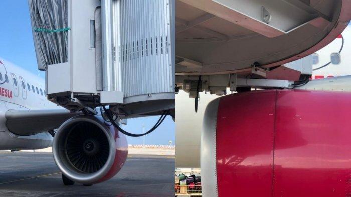 Bagian engine pesawat Batik Air menabrak garbarata Bandara Internasional I Gusti Ngurah Rai Bali, Sabtu (22/5/2021) kemarin.