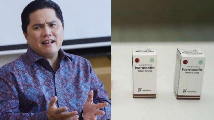 Erick Thohir menyebut Obat anti parasit Ivermectin digunakan terbatas untuk terapi penanganan COVID-19. (Tangkap Layar Kontan dan Tribunnews/Herudin)