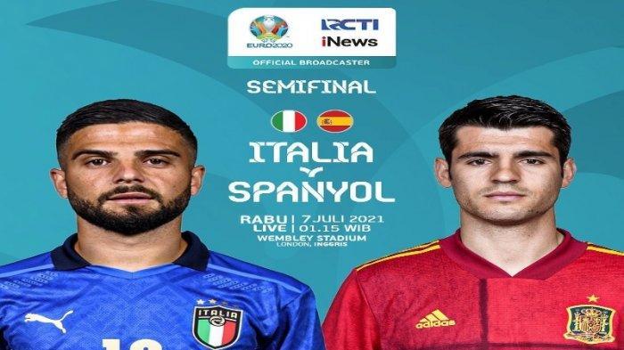 Jadwal Bola Malam Ini: Semifinal Euro 2021 Live RCTI, Italia vs Spanyol, Cara Nonton Mola TV di Sini