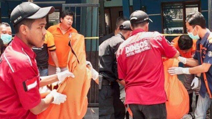 Tim Inafis, Satpol PP, Linmas, PMK, dan Dishub Pemkot Surabaya melakukan evakuasi jenazah korban di Perumahan Western Village blok A 4/ 19, Sememi, Benowo, Surabaya, Minggu (8/12/2019).