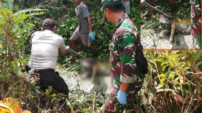 Aparat Kepolisian dan TNI sedang mengevaluasi mayat wanita di rawa-rawa areal tambak Gampong Baroh Langsa Lama.