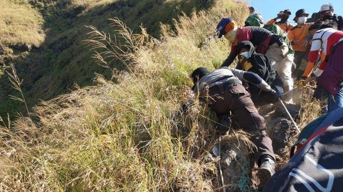 Foto-foto Evakuasi Jenazah Thoriq di Gunung Piramid Bondowoso, Tim SAR Sempat Kesulitan
