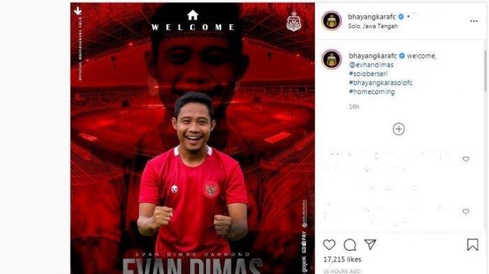 Evan Dimas diperkenalkan sebagai pemain baru Bhayangkara Solo FC