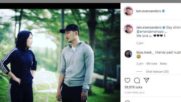 Evan Sanders dalam unggahan Instagramnya berikan dukungan pada Amanda Manopo