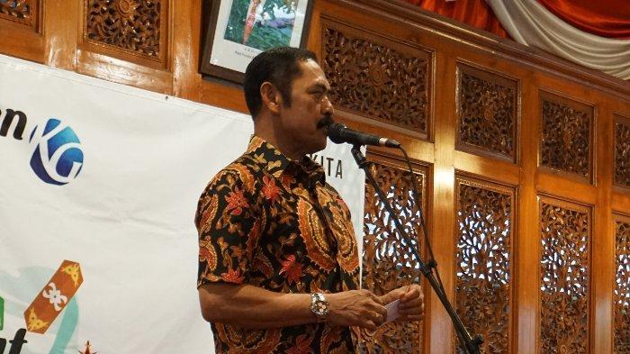 Wali Kota Solo F. X. Hadi Rudyatmo memberi sambutan dalam acara Syukuran Kompas Gramedia 2020 yang bertajuk 'Merajut Harmoni' di Loji Gandrung, Solo, pada Kamis (27/2/2020).