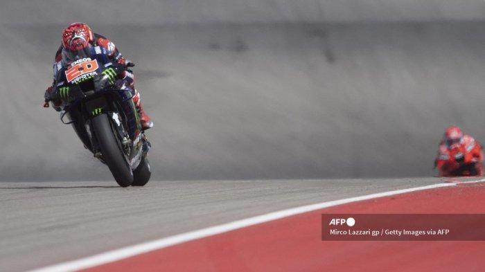 AUSTIN, TEXAS - 01 OKTOBER: Fabio Quartararo dari Prancis dan Monster Energy Yamaha MotoGP Team melaju lurus selama MotoGP Of The Americas - Free Practice pada 01 Oktober 2021 di Austin, Texas.