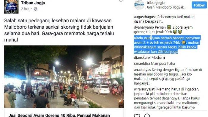 Sejumlah Netizen Cerita Pengalaman 'Dicekik' Harga Tinggi di Lesehan Malioboro