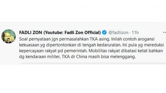 Fadli Zon komentari soal TKA China yang masuk Indonesia s