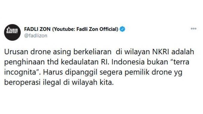 Fadli Zon tanggapi soal penemuan drone diduga milik asing di perairan Sulawesi Selatan.