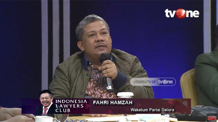 Fahri Hamzah jadi pembicara di ILC, Selasa (18/9/2020)