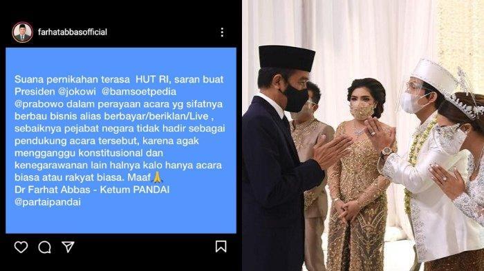 Farhat Abbas Soroti Hadirnya Jokowi-Prabowo di Acara Nikah Atta dan Aurel: Menganggu Konstitusional