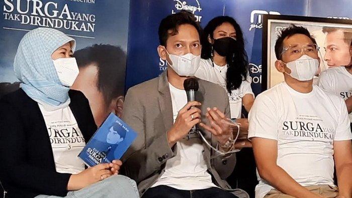Fedi Nuril saat jumpa pers film Surga Yang Tak Dirindukan 3 di MD Place di kawasan Setiabudi Jakarta Selatan, Rabu (17/3/2021).