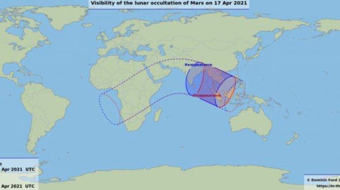 Fenomena Okultasi Mars oleh Bulan, April 2021.