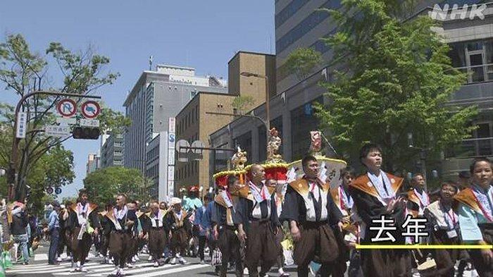 Festival terkenal Hakata Dontaku tahun 2019 yang sangat ramai. Mei 2020 ini festival dibatalkan antisipasi virus Corona.