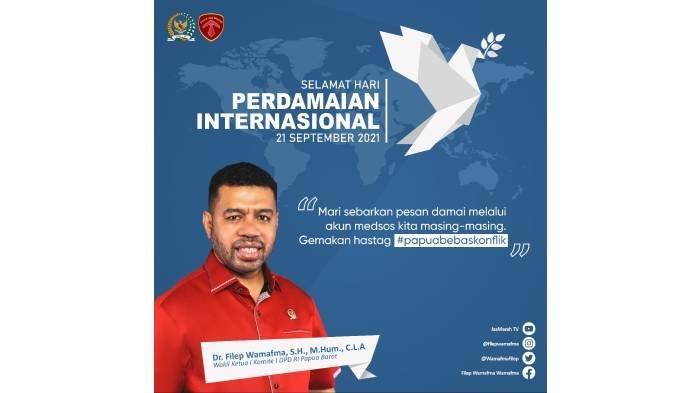 Momentum Hari Perdamaian Internasional, Filep Mamafma Usulkan Pengarusutamaan Perdamaian di Papua.