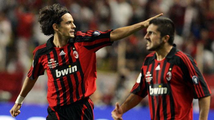 Filippo Inzaghi dan Gennaro Gattuso saat masih aktif bermain di AC Milan.