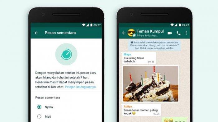 Fitur Pesan Sementara di aplikasi WhatsApp.