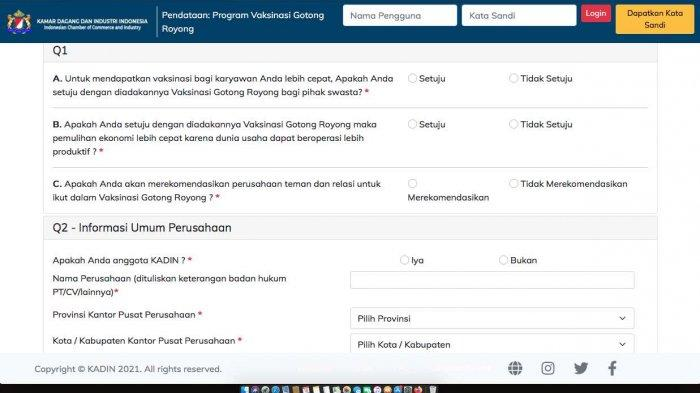 Form pendaftaran program vaksinasi gotong royong
