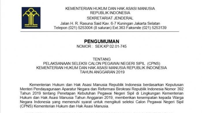 Kemenkumham resmi merilis jumlah formasi yang dibutuhkan dalam seleksi CPNS 2019