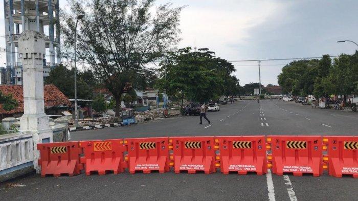 Foto-foto hari pertama Kota Tegal local lockdown.(tribun-video.com/Radif)