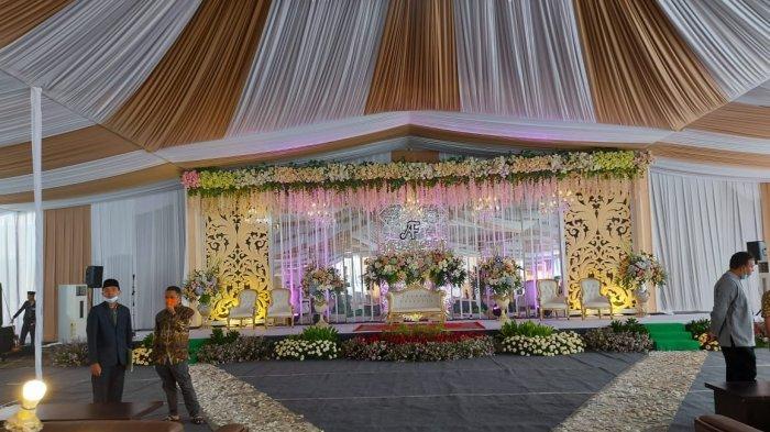 Penampakan pelaminan Ustaz Abdul Somad (UAS) dan Fatimah Az Zahra. Resepsi pernikahan digelar pada Kamis (20/5/2021) di UNIDA Gontor, Ponorogo, Jawa Timur.