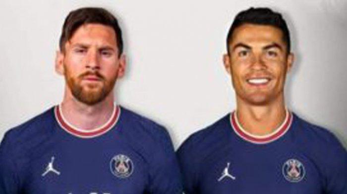 Foto Lionel Messi dan Cristiano Ronaldo berseragam PSG 2