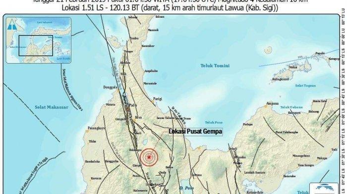 Kabupaten Sigi Enam Kali Diguncang Gempa dalam 10 Jam, Ada yang Bermagnitudo 4,1 SR