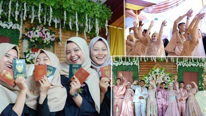 Viral Seorang Janda Kompak Menikah Bersama Tiga Anak Gadisnya, Resepsi Digelar di Lapangan Bola