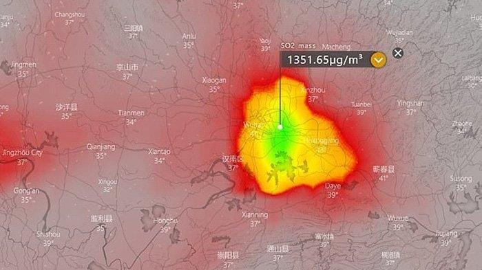 Foto satelit menunjukkan Kota Wuhan pada 9 Februari 2020. Tingkat sulfur dioksida (SO2) di Kota Wuhan pada hari itu sangat tinggi, berada di angka 1.350 ug/m3, sementara menurut WHO di konsentrasi SO2 tidak boleh melebihi 500 ug/m3.