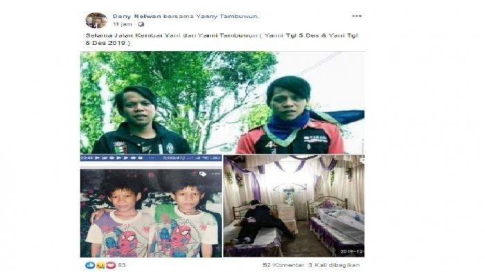 Foto Yanny dan Yarry Tambuwun semasa hidup dan foto kondisi terbujur kaku di sebuah rumah.