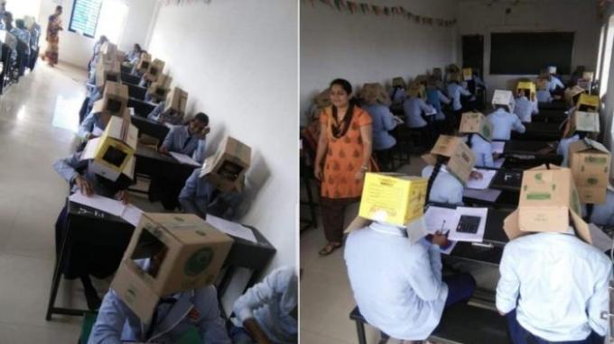 Rangkaian foto yang menuai kritik dan kecaman di India. Siswa yang mengikuti ujian diminta tutupi kepala pakai kardus.