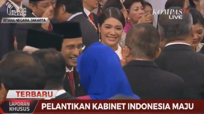 Pesona Franka, Istri Nadiem Makarim pada Acara Pelantikan Kabinet Jokowi di Istana
