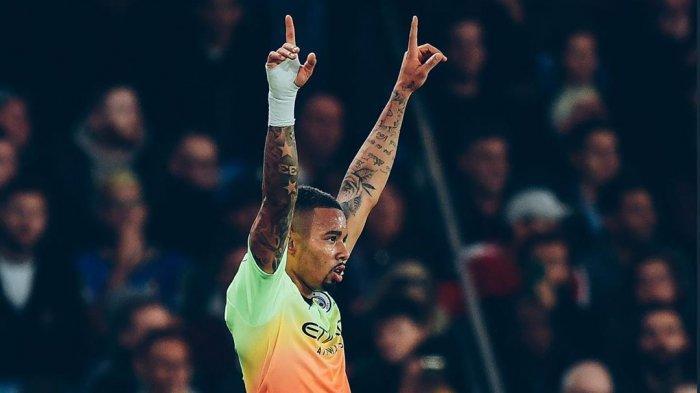 Gabriel Jesus Merayakan Golnya ke gawang Crystal Palace, Minggu (20/10/2019) (@mancity)