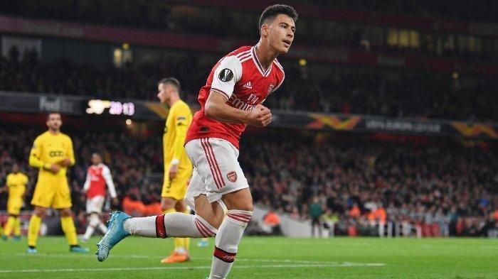 Gabriel Martinelli, tampil memukau untuk Arsenal di matchday kedua Liga Europa, Kamis (3/10/2019).