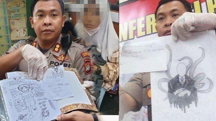 Wakapolres Metro Jakarta Pusat AKBP Susatyo Purnomo memperlihatkan buku catatan milik remaja 15 tahun yang bunuh bocoh 6 tajun di Sawah Besar, Jakarta Pusat, Jumat (6/3/2020).TribunMataram Kolase/ Instagram/ (TRIBUNJAKARTA.COM/DIONSIUS ARYA BIMA SUCI)