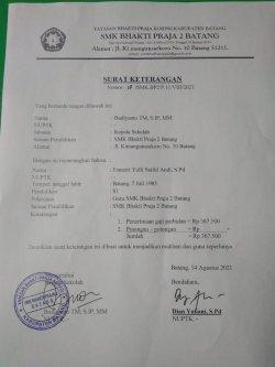 Keterangan seorang gaji guru di Batang, Jawa Tengah yang hanya menerima gaji Rp 367.500
