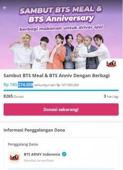 Galang dana yang dilakukan ARMY Indonesia melalui platform Kitabisa.com
