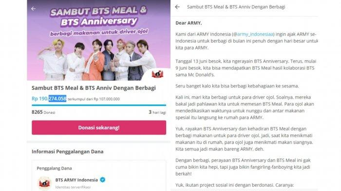 Hari Kedua Galang Dana untuk Ojol yang Berjuang Demi BTSMeal, ARMY Indonesia Kumpulkan Rp 200 Juta