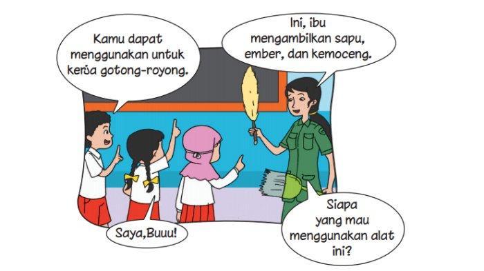 Beni dan teman-temannya melakukan gotong royong. Gotong royong ini dilakukan di sekolah. Siti menyapu halaman. Dayu menyiram bunga. Edo mengelap kaca.