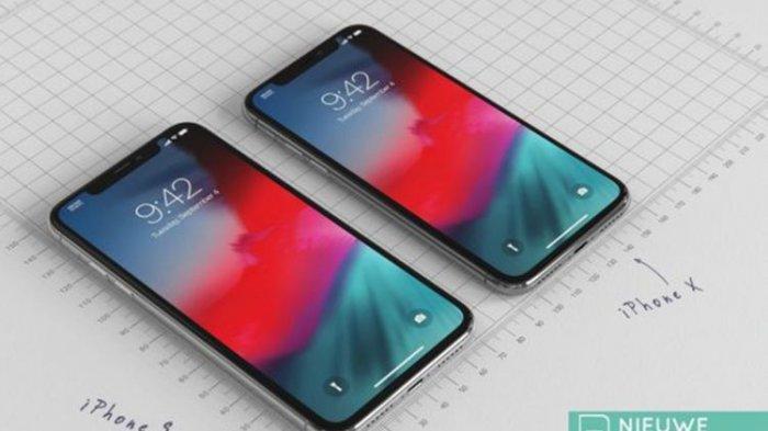 Gambar rekaan iPhone 9, disandingkan dengan iPhone X
