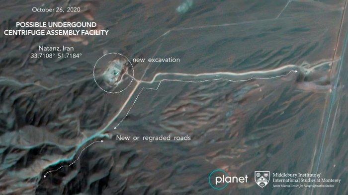 Gambar satelit dari Planet Labs Inc. Para ahli di James Martin Center for Nonproliferation Studies di Middlebury Institute of International Studies, menunjukkan konstruksi di fasilitas pengayaan uranium Natanz Iran, menurut para ahli mungkin merupakan rakitan sentrifugal bawah tanah.